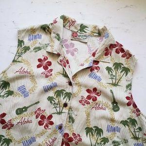Womens XL Hilo Hattie Crop Sleeveless Hawaiian